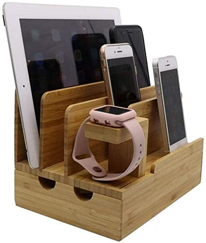 GJJSZ Router rack Shelves Charging Station Multi Device Organizer, Large Capacity Desktop Cord Organizer With Smartphones IPhone IPad And Tablets-Durable And Eco-Friendly (Nature Bamboo) Shelf