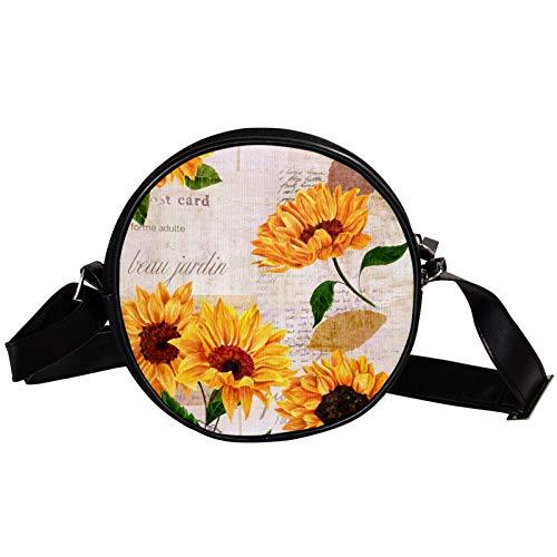 Round Crossbody Bag Small Handbag Ladies Fashion Shoulder Bags Messenger Bag Canvas Bag Waist Bag Accessories for Women - Sunflower And Post Card