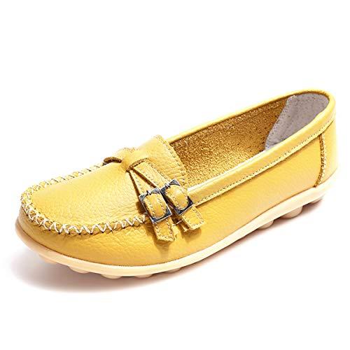 GAXmi Mocassini Donna Pelle Comode Loafers Scarpe da Guida Estive Piatte Morbide Giallo 38 EU