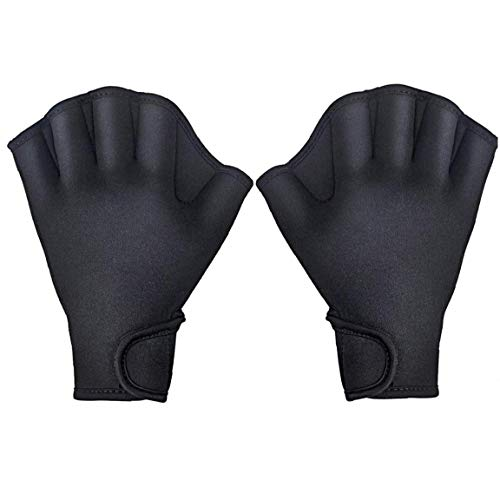 Aquatic Handschuhe Schwimmtraining Vernetzter Schwimmhandschuhe Für Männer Frauen Erwachsene Kinder Aquatic Fitness Wasserkrafttraining Schwarz L