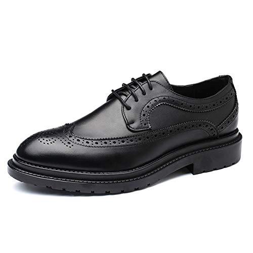 WENQU Comfortabele Brogue Oxford voor Mannen Habilitate Schoenen Microvezel Leer Anti-Slip puntige teen Gepolijst Stijl Stitch Low Heel Condoom Zool