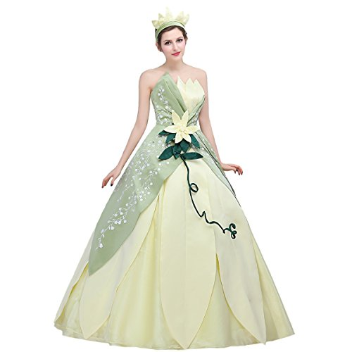 Angelaicos Womens Hand Sewing Leaf Design Layered Costume Dress Party Ball Gown (XL) Green