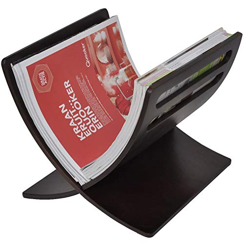 Zeitschriftenständer aus Holz, Stehender Zeitungsständer Bücherregal Ausstellungsregal Zeitungsaufbewahrung Halter für Zuhause, Büro, Wohnzimmer, 29,5 x 29,5 x 26,5 cm (Braun)