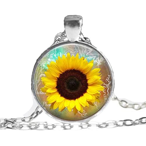 Whosale Collar de girasol amarillo colgante girasol encanto joyería primavera joyería flor amarilla