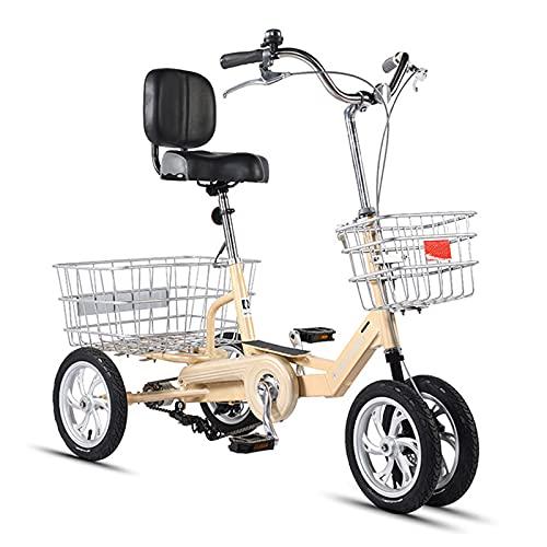 Triciclo para adultos 12 Pulgadas De La Rueda De 4 Ruedas Bicicleta De Una Sola Velocidad Con La Canasta Grande Y El Respaldo Del Asiento Triciclo Para Adultos Para La Recreación, Las Com(Color:Beige)