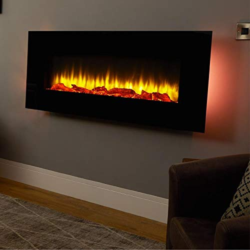 Chimenea eléctrica de pared Holbeck, vidrio plano negro, 1 & 2kW, 7 días Control remoto programable (L 1270mm x H 550mm x W 140mm)