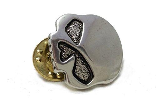Daywalker Bikestuff Biker PIN Skull Totenkopf Half Skull Anstecker Badge Rocker Chopper (Silber Chrom)