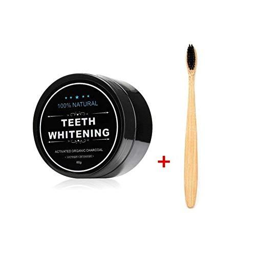 FOXTSPORT Polvo de Dientes + Cepillo de dientes de bambú, Polvo Blanqueador de dientes, Blanqueador Dental de Carbón Activado, Dientes Blancos,Teeth Whitening Powder,60g