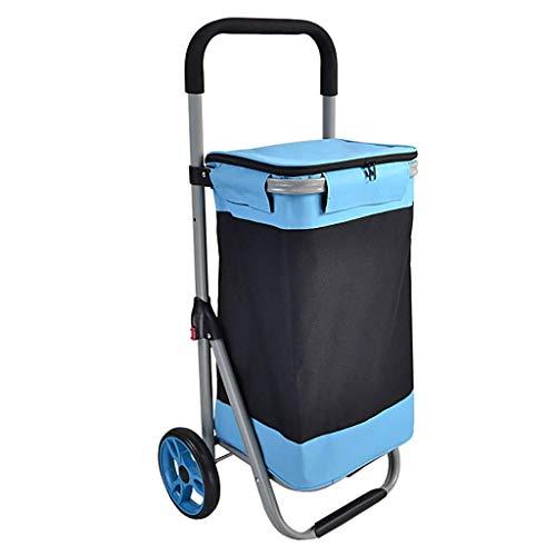 WLG Carros de la Compra de Comestibles con Ruedas Plegable Azul de...