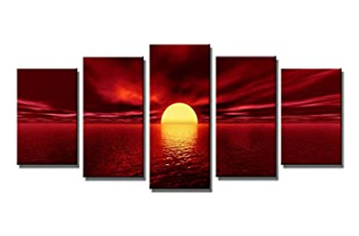 Wieco Art The Red Sun Canvas Prints Giclee Artwork for Wall Decor, Stretched and Framed Art Work, Modern Canvas Wall Art for Home and Office Decoration Landscape Picture Print on Canvas Art P5RLA006