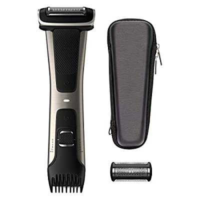 Philips Norelco Bodygroom Series 7000, BG7040/42, Showerproof Dual-Sided Body Trimmer and Shaver for Men + Case and Replacement Head