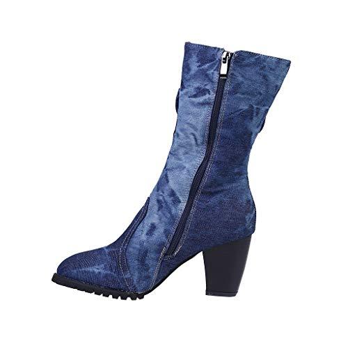 Vrouwen Rome Schoenen Grote Maat Rits Vierkant Med Hakken Korte Laarzen Vrouwen Cowboy Laarzen Enkellaarzen Comfort Sport Schoenen