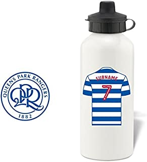 Official Personalized Queens Park Rangers FC Aluminium White Water Bottle with Spring Hook (600ml) - Free Personalization