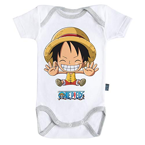 Baby Geek Luffy Free Hugs One Piece TM - Body para bebé de Manga Corta Blanco 6-12 Meses