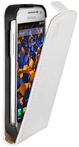 mumbi Echt Leder Flip Case kompatibel mit Samsung Galaxy S4 mini Hülle Leder Tasche Case Wallet, weiss