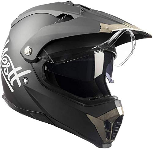 Westt Cross Dirt Bike Helmet - Matt Black Motocross Helmet Dual Visor - DOT motorcycle helmet for adults on atv mtb 4 wheeler snowmobile off road men and women