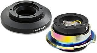 NRG-SRK-E46H+280BK-MC, NRG Innovations Steering Wheel 6-Hole Aluminum Ball Bearing Short Hub Adapter with Gen 2.8 Neo Chrome Black Quick Release SRK-E46H