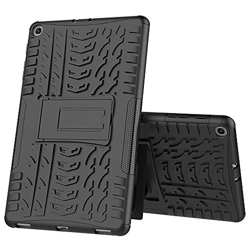 ZHIWEI Tablet PC Bolsas Bandolera Cubierta de Tableta para Samsung Galaxy Tab A 10.1 2019 T510 / T515 Textura de neumáticos TPU + PC Funda Protectora con Soporte de Mango Plegable (Color : Black)