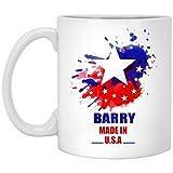Tazas personalizadas con texto para adultos – Barry Made in USA Bandera acuarela – Cool Gift Mug ForHim, Her On Birthday...
