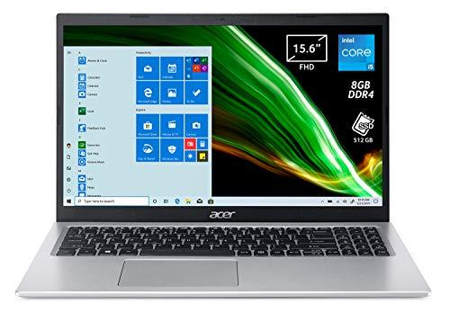 Acer Aspire 5 A515-56-566X PC Portatile, Notebook, Intel Core i5-1135G7, RAM 8 GB DDR4, 512 GB PCIe NVMe SSD, Display 15.6' FHD LED LCD, Scheda Grafica Intel Iris Xe, Windows 10 Home, Silver