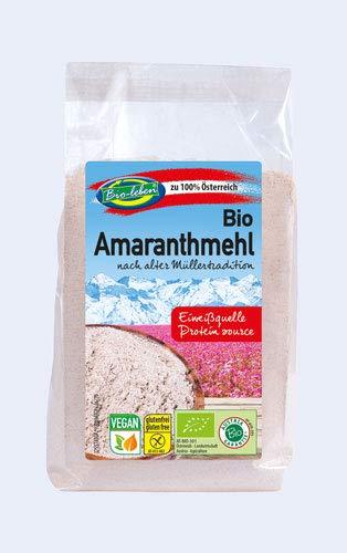 Bio-leben österreichisches Bio Amaranthmehl glutenfrei 1,8 kg gentechnikfrei, aus rohem Vollkorn Amaranth, Mehl, extra gereinigt und stechapfelfrei, aus Österreich 6x300g
