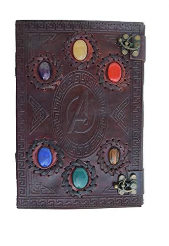 25,4 cm Avengers Vintage handgemachte Infinity Stones Leder nachfüllbar Journal / Reise schreiben Tagebuch / Notebook mit natürlichen Halbedelsteinen und Schnalle / Schloss / Riegel