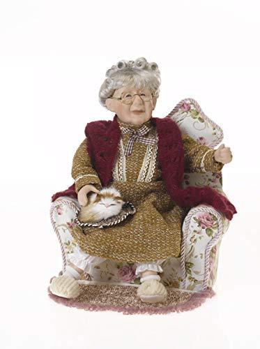 Bambola da collezione in porcellana, Bambola, ARTISTA nonna con suo gatto in poltrona 33cm