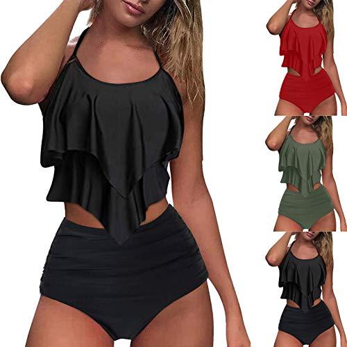 ZGNB Bikini Hose Bikini Damen High Waist Sexy Tankini 50S Bikini MäDchen 110 Bikini Camouflage samt Bikini bikiniverschluss 25mm Schwarz Blau