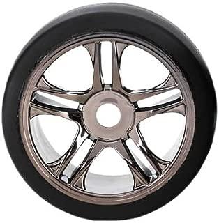 Traxxas 6477 S1 Compound Slick Tires Pre-Glued on Black Split-Spoke Wheels (rear)