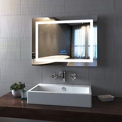 Bath-mann LED-wandspiegel, badkamerspiegel, lichtspiegel, wandspiegel met touch-schakelaar, IP44, energiebesparend - koudwit 80 x 60 cm (Touch+Beschlagfrei+Bluetooth) Type05