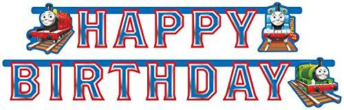 Amscan 552163 - Partykette Happy Birthday Thomas und seine Freunde, Papier, 184 x 15,5 cm, Girlande, Hängedekoration, Geburtstag