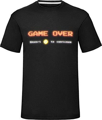 Heren Retro Arcade spel over invoegen munt Pixel T-Shirt jongens Tee Top