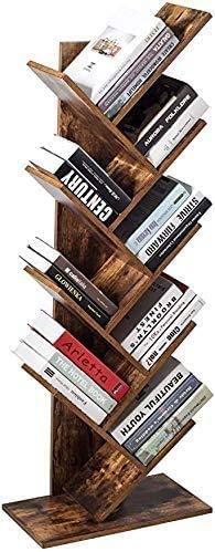 Estantería de madera para libros con 8 estantes, estantería de cubos marrón, estantería de almacenamiento de pie, estantería de árbol, estantería para libros, revistas, CD y películas, color marrón