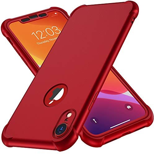ORETECH Kompatibel mit iPhone XR Hülle, mit [2X Panzerglas Schutzfolie] 360 Grad Stoßfest Dünn Schutzhülle Handyhülle TPU Silikon Hart PC Slim Rugged Case Cover für iPhone XR(2018) 6,1 Zoll, Rot