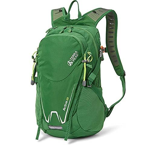 """Terra Peak Active 20 Wanderrucksack 20L klein grün Outdoorrucksack mit Trinksystem für Wandern, Radfahren, Reisen, Sport wasserabweisendes Material Helmhalterung und Fach für Laptop 15,6\"""" Regenhülle"""
