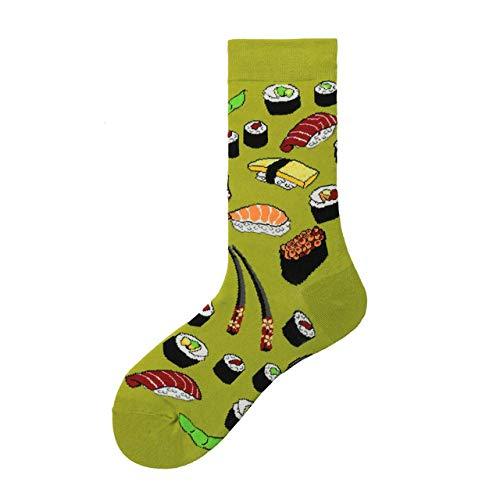 LILONGXI Lustige Socken,Weibliche Draußen Sport Atmungsaktiv Antibakteriell Baumwollsocken Sushi Essen Muster Drucken Herbst Winter Fashion Warme Socken Stricken Socken(3pcs)