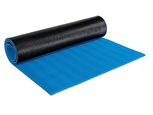 Crivit Fitness–Colchoneta esterilla de yoga, gimnasia, L 150cm x B 70cm, grosor 1cm, color azul/gris oscuro
