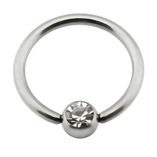 eeddoo Brustwarzen-Piercing Nippel-Ring klare Kristalle Silber Titan 12 mm