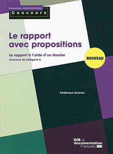 Le rapport avec propositions - Concours