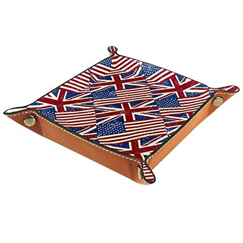 Banderas del Reino Unido | Bandeja de cuero para valet | Mesita de noche y organizador de aparador | Bandeja de joyería para hombres y mujeres