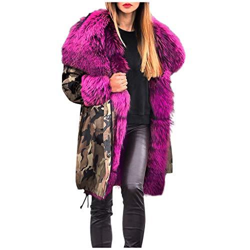 DNOQN Pelzjacke Parka Winterjacke Kurzmantel Softshelljacke Wintermantel Damen Fuzzy Fur Tarnen Winter Warm Kapuzenpullover Jacke Mantel Winddicht Outwear