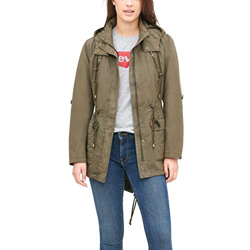 Levi's Women's Cotton Hooded Anorak Jacket (Standard & Plus Sizes), Army Green, X-Large