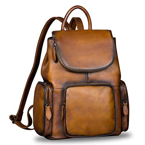 Leather Backpack for Women Vintage Handmade Casual Rucksack Satchel (Brown)