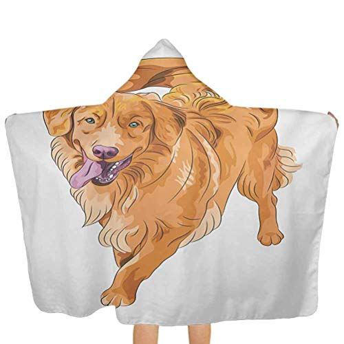 ThinkingPower Baby Towel Playful Dog Running with a Smiling Face Best Friend and Companion Premium Cotton Absorbent Bathrobe Perfect Baby Shower for Boys and Girls Orange Violet White 51.5x31.8 Inch