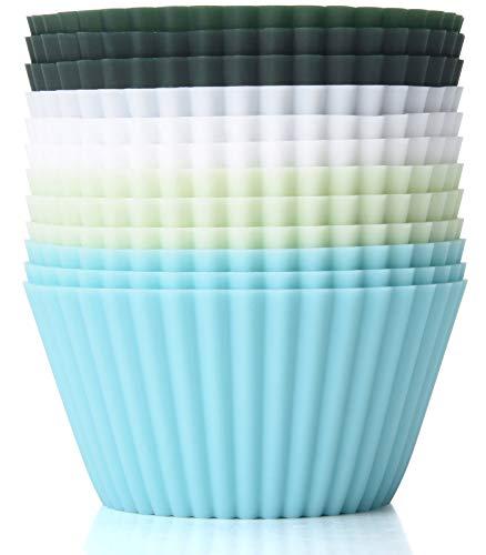 TeaRoo Silikonformen, Standard Silikonformen für Muffins 4 Farben, 12er-Set Wiederverwendbare | antihaftbeschichtet BPA-Frei | spülmaschinengeeignet