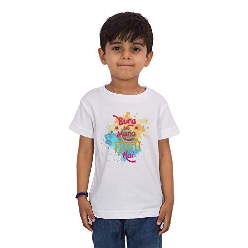 LIMIT Fashion Store - Bura Na Mano Holi Hai Colorful Special Happy Holi Kids Gift T-Shirt(Boys/Girls) (5-6 Years) White