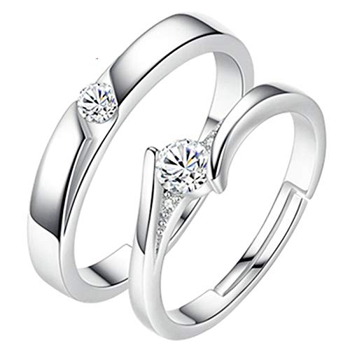 Aartoil - Par de anillos de compromiso personalizados de plata de ley 925 CZ para hombre y mujer, 2 unidades, ajustable, color plateado