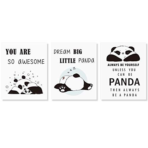 Panda Póster para Habitación de los Niños,Citas Inspiradoras Impresiones de Arte de Pared,Juego de 3 carteles para decoración dormitorio infantil,Sin Marco