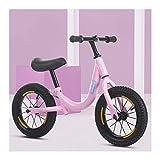 CJW-LC Bicicleta De Equilibrio, Bicicleta Sin Pedales Acero De Alto Carbono Balance Bike con Ruedas Inflables De 12 Pulgadas Asiento Y Manillar Regulables En Altura, para Niños De 2-6 Años,A