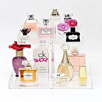 YAGELI Handmade Perfume Display Tray Acrylic Large Vanity Trays Perfume Holder Organizer for Table Cabinet Bathroom Kitchen Countertop  2Tier UpdateVersion
